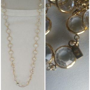 Swarovski Gold Tone Clear Crystal Beaded Necklace